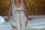 Free porn pics of Sheryl – hot brunette in white lingerie uses a blue dildo 1 of 63 pics