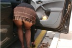 Free porn pics of slut wife in pantyhose tights enjoys flashing in public for your 1 of 16 pics