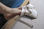 Free porn pics of my girl in her sexy white heels 1 of 5 pics