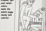 Free porn pics of saggy Sandy coloringbook IV 1 of 20 pics