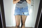 Free porn pics of Miss Lauren posing and teasing in a denim skirt and black pantyh 1 of 24 pics