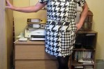 Free porn pics of Nicola in Black and White Dogtooth Dress 1 of 17 pics